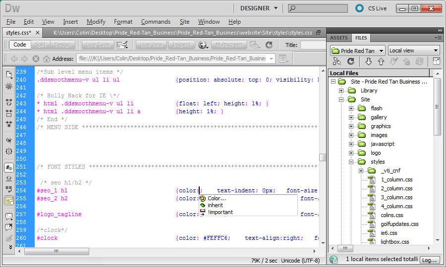 Lessons Ch11  CSS text in Dreamweaver – working in the style