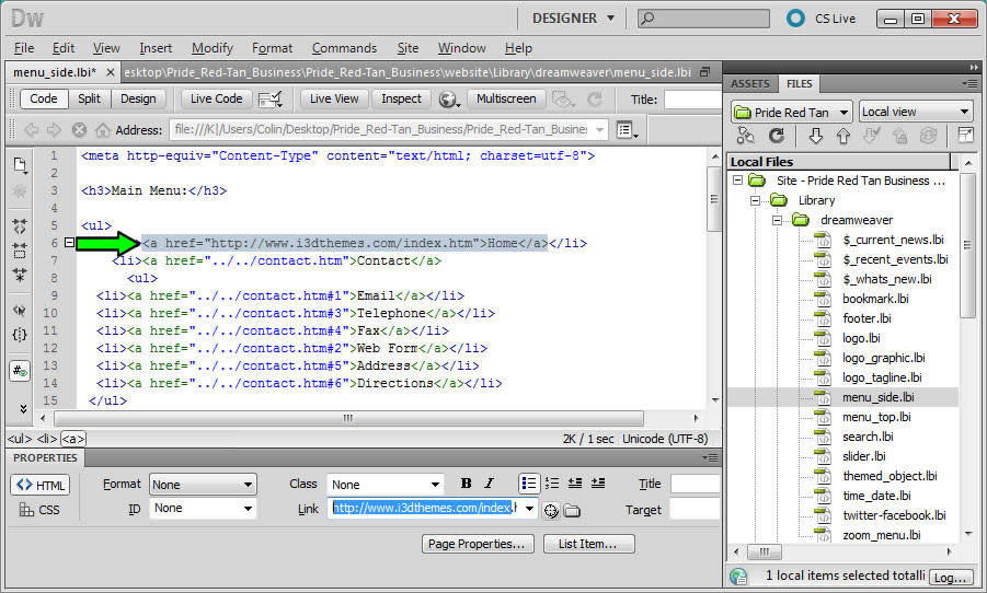 Lessons.Ch7. Hyperlinks in Dreamweaver – absolute links