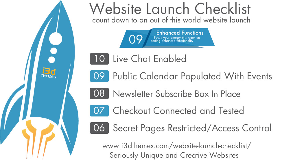 Website Launch Checklist - Week 9 - Enhanced Functionality